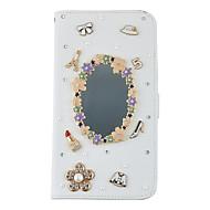 Для Кошелек / Бумажник для карт / Стразы / со стендом / Флип Кейс для Чехол Кейс для Один цвет Твердый Искусственная кожа SamsungS7 edge