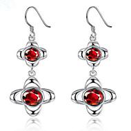 preiswerte -Damen Synthetischer Diamant Sterling Silber versilbert Tropfen-Ohrringe - Modisch Kreisform Für Party Alltag Normal