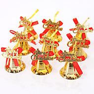 9PCS 크리스마스 장식 장식 크리스마스 트리 장식, 광택, 골드 벨 매달려 bowknot DIY 메리 크리스마스