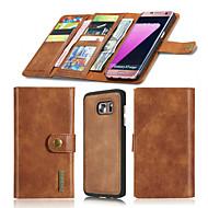 Недорогие Чехлы и кейсы для Galaxy S7-Кейс для Назначение SSamsung Galaxy S7 edge / S7 Кошелек / Бумажник для карт / Оригами Чехол Однотонный Твердый Настоящая кожа для S7 edge / S7