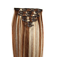 halpa -Clip In Hiukset Extensions Aitoa hiusta Suora 7kpl / pakkaus 8kpl / pakkaus 16 tuumainen 18 tuumainen 20 tuumainen 22 tuumainen 24