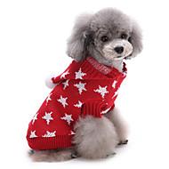 Cica Kutya Pulóverek Karácsony Kutyaruházat Bájos Melegen tartani Sztárok Piros Kék Jelmez Háziállatok számára