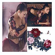 1 Tatuagem Adesiva Séries Flores Estampado / Tamanho Grande / WaterproofAdulto Flash do tatuagem Tatuagens temporárias