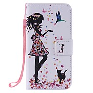 For Samsung Galaxy J3 J3(2016) Woman and Cat Painted Card Holder Wallet PU Leather Phone Case