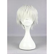 お買い得  -人工毛ウィッグ / コスチュームウィッグ カール バング付き 合成 白 かつら 女性用 ショート キャップレス シルバー