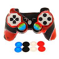 abordables Manettes de PS3 Sans Fil-contrôleur double choc filaire avec couverture de peau de silicone&2pcs bouchons de mushrooom pour ps3