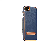 Para Funda iPhone 7 Funda iPhone 7 Plus Carcasa Funda con Soporte Cubierta Trasera Funda Color sólido Dura Cuero Auténtico para Apple