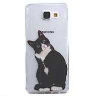 Недорогие Чехлы и кейсы для Galaxy A5(2016)-Кейс для Назначение SSamsung Galaxy A5(2016) A3(2016) Прозрачный С узором Кейс на заднюю панель Кот Мягкий ТПУ для A5(2016) A3(2016)