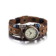 Dames Modieus horloge Polshorloge Armbandhorloge Kwarts Waterbestendig Leer Band Vintage Bohémien Bangle armband Bruin