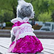 billige -Hund Kjoler Hundeklær Bryllup Mote Blomsternål i krystall Grønn Rosa Kostume For kjæledyr