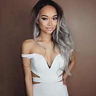 Naisten Synteettiset peruukit Keskikokoinen Laineikas Harmaa Liukuvärjätyt hiukset Tummat juuret Keskijakaus Luonnollinen peruukki
