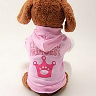 お買い得  -ネコ 犬 パーカー 犬用ウェア ティアラ、クラウン ピンク コットン コスチューム ペット用 女性用 ファッション