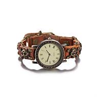Dames Modieus horloge Polshorloge Armbandhorloge Kwarts Waterbestendig Leer Band Vintage Schedel Bohémien Bangle armband Bruin