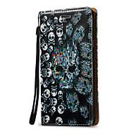 preiswerte Handyhüllen-Hülle Für Samsung Galaxy Kreditkartenfächer Geldbeutel Flipbare Hülle Ganzkörper-Gehäuse Totenkopf Motiv Hart PU-Leder für Note 5 Note 4