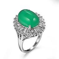 billige -Dame Kvadratisk Zirconium Ring Zirkonium Kvadratisk Zirconium Legering Europæisk Mode Moderinge Smykker Grøn Til Afslappet 6 / 7 / 8 / 9 / 10