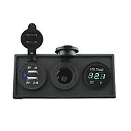 12V/24V Power charger3.1A USB port and 12V voltmeter gauge with housing holder panel for car boat truck RV(With green voltmeter)