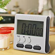 1pcs cronómetro digital de cocina negro cuadrado magnético LCD de gran tamaño contar hasta abajo del despertador 24 horas con soporte