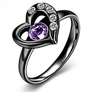 指輪 ステンレス鋼 ジルコン キュービックジルコニア チタン鋼 ファッション ゴールド マットブラック ジュエリー パーティー 日常 1個