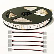 z®zdm 5m 72W 300pcs 5050 4red en 1blue / groep onder leiding installatie licht strip met 4 stuks 5050 strook licht connector DC12V