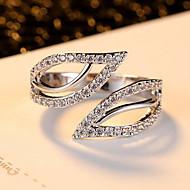 女性 指輪 調整可能 オープン コスチュームジュエリー 欧米の ファッション ジルコン キュービックジルコニア 合金 リーフ ジュエリー 用途 パーティー 日常 カジュアル