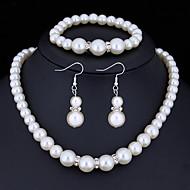 hesapli Mücevher&Saatler-Kadın's Kristal Takı Seti - İmitasyon İnci, Yapay Elmas Temel Dahil etmek Beyaz Uyumluluk Yılbaşı Hediyeleri Düğün Parti