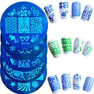 10st / set warm te koop nail art stempelen plaat mode roestvrij staal stencils mooi ontwerp kleurrijke vlinder bloem manicure stencils