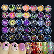 35bottles/set Hot Fashion Mixed Colorful Nail Art Glitter Round Paillette Beautiful Colored Thin Slice Sparkling Design Nail DIY Decoration P1-35