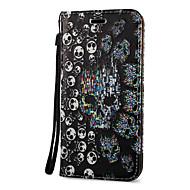 Недорогие Чехлы и кейсы для Galaxy S7 Edge-Кейс для Назначение SSamsung Galaxy S8 Plus S8 Бумажник для карт со стендом Флип Магнитный С узором Чехол Черепа Твердый Кожа PU для S8