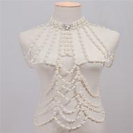 お買い得  -真珠 ボディチェーン / ベリーチェーン - 人造真珠 ヴィンテージ, ファッション 女性用 ホワイト ボディジュエリー 用途 カジュアル / ラインストーン