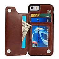 Käyttötarkoitus iPhone X iPhone 8 kotelot kuoret Korttikotelo Tuella Takakuori Etui Yhtenäinen väri Kova PU-nahka varten Apple iPhone X