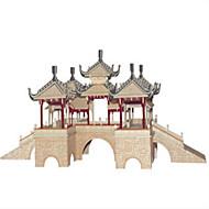 GDS-sæt Byggeklodser 3D-puslespil Pædagogisk legetøj Puslespil Træpuslespil Legetøj Kvadrat Borg Berømt bygning Kinesisk arkitektur Hus