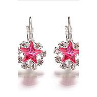 Kolczyk Kryształ Rhinestone Unikalny Modny Kryształ Kryształ górski Stop Star Shape Black Purple Hot Pink Czerwony Niebieski Biżuteria Na