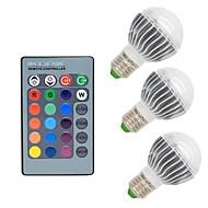 お買い得  LED ボール型電球-3本 3W 300lm E26 / E27 LEDボール型電球 G50 1 LEDビーズ COB 調光可能 装飾用 リモコン操作 RGB 85-265V