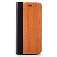 Недорогие Кейсы для iPhone-Для Чехлы панели Бумажник для карт со стендом Оригами Магнитный Чехол Кейс для Один цвет Твердый Дерево для AppleiPhone 7 Plus iPhone 7
