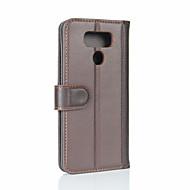 お買い得  携帯電話ケース-ケース 用途 LG ウォレット / カードホルダー / フリップ フルボディーケース ソリッド ハード 本革 のために LG G6