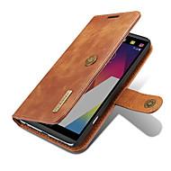 お買い得  携帯電話ケース-ケース 用途 LG カードホルダー ウォレット スタンド付き フリップ 磁石バックル フルボディーケース 純色 ハード 本革 のために LG V20 LG G6