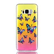 Для Чехлы панели Стразы IMD Полупрозрачный С узором Задняя крышка Кейс для Бабочка Твердый PC для Samsung S8 S8 Plus S7 edge S7