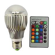 9W E27 LED-pallolamput A60(A19) 1 Integroitu LED 800 lm RGB Himmennettävä Kauko-ohjattava Koristeltu AC 85-265 V 1 kpl