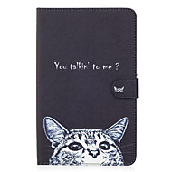 For Samsung Galaxy Tab E 9.6 Case Cover Cat Pattern Painted Card Stent Wallet PU Skin Material Flat Protective Shell