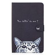 Для samsung galaxy tab e 9.6 крышка корпуса кошка рисунок окрашенный карта стент кошелек pu кожа материал плоская защитная оболочка