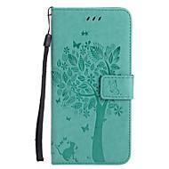 Недорогие Кейсы для iPhone 8 Plus-Кейс для Назначение Apple iPhone X iPhone 8 Бумажник для карт Кошелек со стендом Флип С узором Рельефный Чехол Кот дерево Твердый Кожа PU