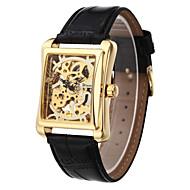 WINNER 男性用 リストウォッチ 機械式時計 手巻き式 透かし加工 PU バンド ラグジュアリー ブラック