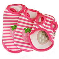 お買い得  -ネコ 犬 Tシャツ 犬用ウェア 縞柄 果物 ピンク コットン コスチューム ペット用 コスプレ 結婚式