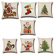 abordables Textiles para el Hogar-7 PC Algodón / Lino Cobertor de Cojín / Funda de almohada, Novedad / Moda / Navidad Retro / Tradicional / Clásico / Euro