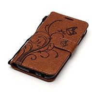 Кейс для Назначение SSamsung Galaxy A5(2017) A3(2017) Бумажник для карт со стендом Флип С узором Чехол Бабочка Твердый Искусственная кожа