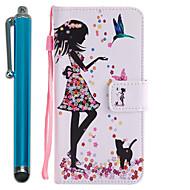 Недорогие Чехлы и кейсы для Galaxy А-Кейс для Назначение SSamsung Galaxy A5(2017) A3(2017) Бумажник для карт Кошелек со стендом Флип С узором Чехол Соблазнительная девушка