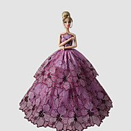 Party/Evening Dresses For Barbie Doll Floral Purple Princess Dress For Girl's Doll Toy