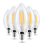 4W E14 LED Candle Lights C35 4 leds COB Dimmable Decorative Warm White Cold White 300-400lm 2800-3200/6000-6500K AC 220-240V