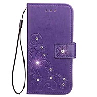 Недорогие Чехлы и кейсы для Galaxy Note-Кейс для Назначение SSamsung Galaxy Кошелек / Бумажник для карт / Стразы Чехол Однотонный Твердый Кожа PU для Note 5 / Note 4 / Note 3