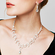 여성용 보석 세트 귀걸이 물가 목걸이 패션 우아한 의상 보석 모조 큐빅 라인석 은 도금 모조 다이아몬드 눈물 목걸이 귀걸이 제품 결혼식 파티 약혼 결혼 선물